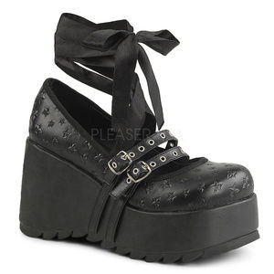 Shoes - Gothic Platform Star Wrap Around Ankle Punk Shoes